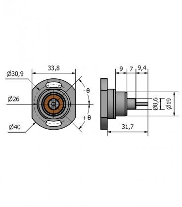 Flanged wheel base 32 mm